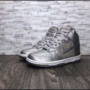 Nike Dunk High 6.0 Glitter Metallic Silver